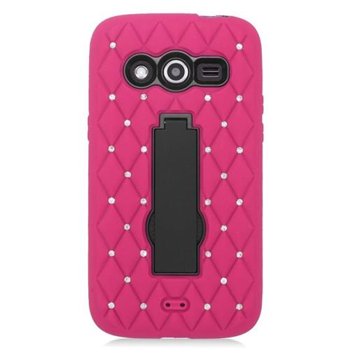 Insten Hybrid Stand Silicone/PC Case With Diamond Compatible Samsung Galaxy Avant, Hot Pink/Black