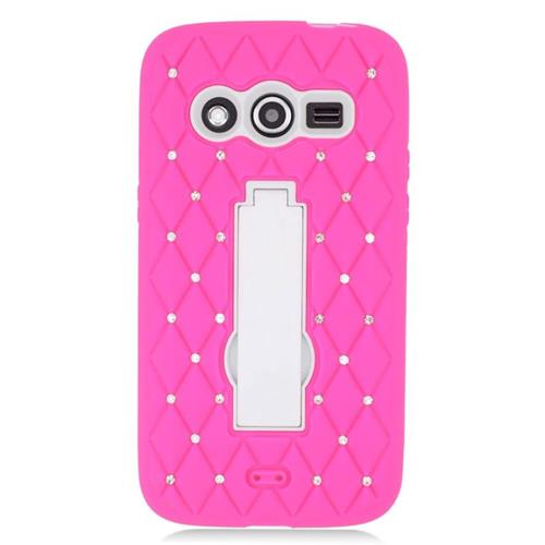 Insten Hybrid Stand Silicone/PC Case With Diamond Compatible Samsung Galaxy Avant, Hot Pink/White