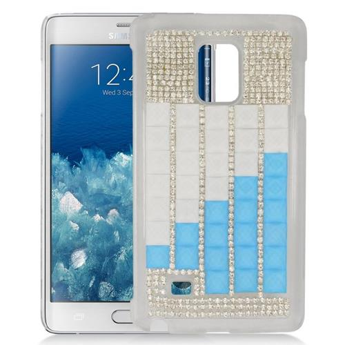 Insten Checker Rhinestone Diamond Bling Hard Snap-in Case For Samsung Galaxy Note Edge, Silver/Blue
