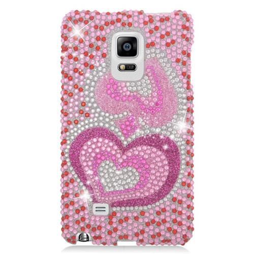 Insten Hearts Rhinestone Diamond Bling Hard Snap-in Case For Samsung Galaxy Note Edge, Pink/White