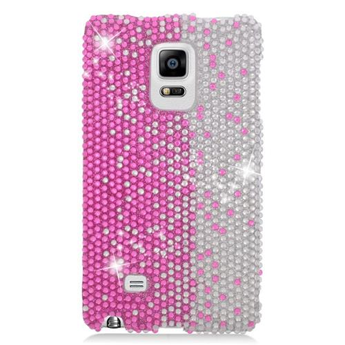 Insten Rhinestone Diamond Bling Hard Snap-in Case For Samsung Galaxy Note Edge, Hot Pink/White