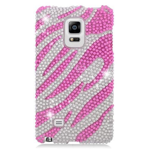 Insten Zebra Rhinestone Diamond Hard Snap-in Case For Samsung Galaxy Note Edge, Hot Pink/Silver