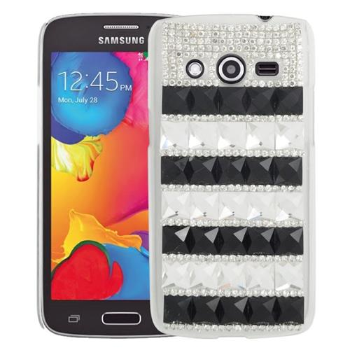 Insten Checker Rhinestone Diamond Bling Hard Snap-in Case For Samsung Galaxy Avant, Black/White