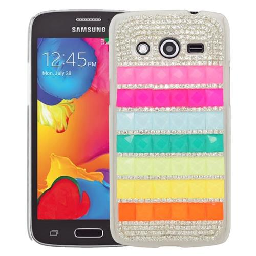 Insten Checker Rhinestone Diamond Bling Hard Snap-in Case For Samsung Galaxy Avant, Colorful