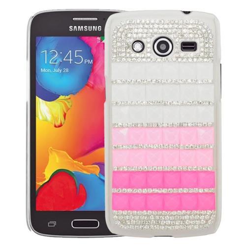 Insten Checker Rhinestone Diamond Bling Hard Snap-in Case For Samsung Galaxy Avant, Hot Pink/Pink