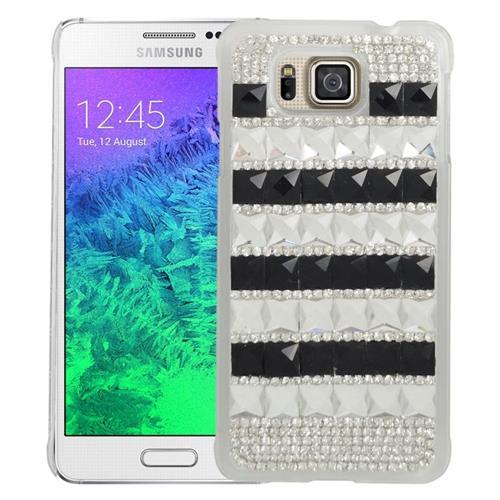 Insten Checker Rhinestone Hard Snap-in Case For Samsung Galaxy Alpha SM-G850A/SM-G850T, Black/White