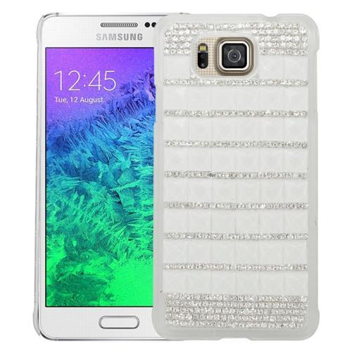 Insten Checker Rhinestone Hard Snap-in Case For Samsung Galaxy Alpha SM-G850A/SM-G850T, White/Silver