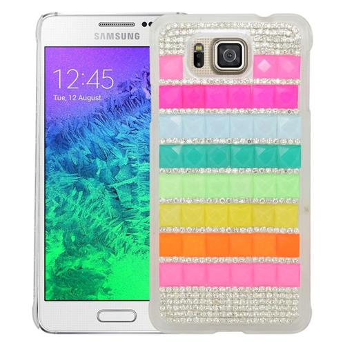Insten Checker Rhinestone Hard Case For Samsung Galaxy Alpha SM-G850A/SM-G850T, Colorful/White