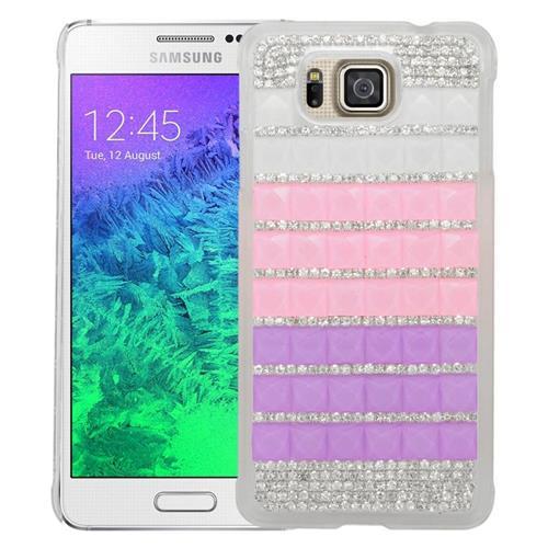 Insten Checker Rhinestone Hard Snap-in Case For Samsung Galaxy Alpha SM-G850A/SM-G850T, Pink/Purple