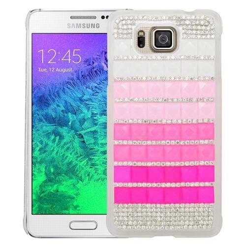 Insten Checker Rhinestone Hard Case For Samsung Galaxy Alpha SM-G850A/SM-G850T, Pink/Hot Pink