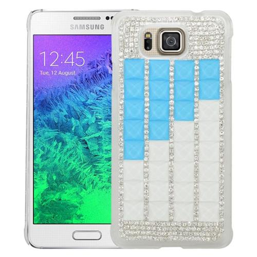 Insten Checker Rhinestone Hard Snap-in Case For Samsung Galaxy Alpha SM-G850A/SM-G850T, Silver/Blue