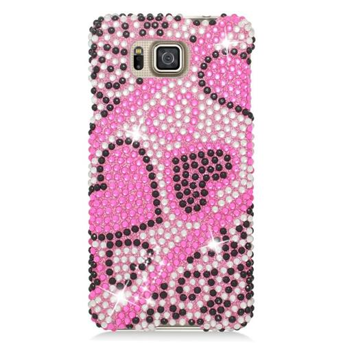 Insten Hearts Rhinestone Hard Snap-in Case For Samsung Galaxy Alpha SM-G850A/SM-G850T, Pink/Hot Pink