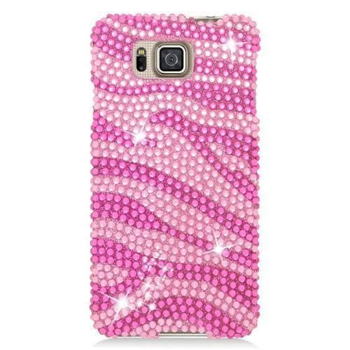 Insten Zebra Rhinestone Hard Snap-in Case For Samsung Galaxy Alpha SM-G850A/SM-G850T, Pink/Hot Pink