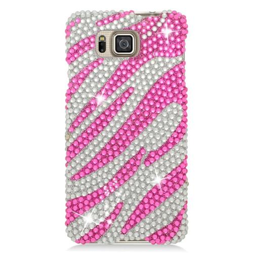 Insten Zebra Rhinestone Hard Case For Samsung Galaxy Alpha SM-G850A/SM-G850T, Hot Pink/Silver