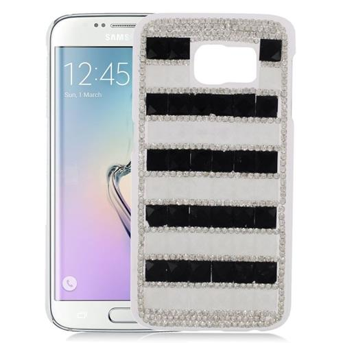Insten Checker Rhinestone Diamond Bling Hard Snap-in Case For Samsung Galaxy S6 Edge, Black/White