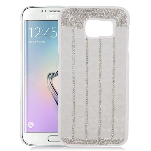 Insten Checker Rhinestone Diamond Bling Hard Snap-in Case For Samsung Galaxy S6 Edge, White