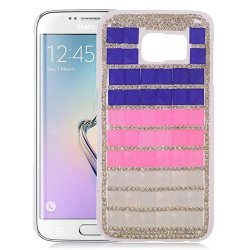 Insten Checker Rhinestone Diamond Bling Hard Snap-in Case For Samsung Galaxy S6 Edge, Purple/Pink