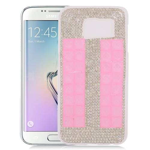 Insten Checker Rhinestone Diamond Bling Hard Snap-in Case For Samsung Galaxy S6 Edge, Pink/White