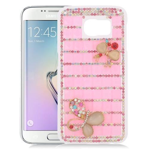 Insten Checker Rhinestone Diamond Bling Hard Snap-in Case For Samsung Galaxy S6 Edge, Pink/Gold