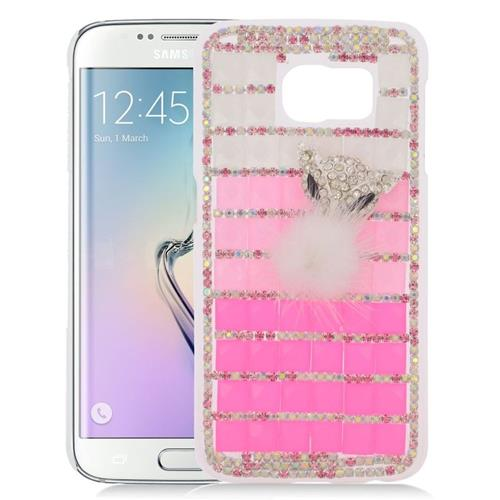 Insten Checker Rhinestone Diamond Bling Hard Snap-in Case For Samsung Galaxy S6 Edge, Pink/Silver