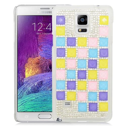 Insten Checker Rhinestone Diamond Bling Hard Snap-in Case For Samsung Galaxy Note 4, Colorful/White