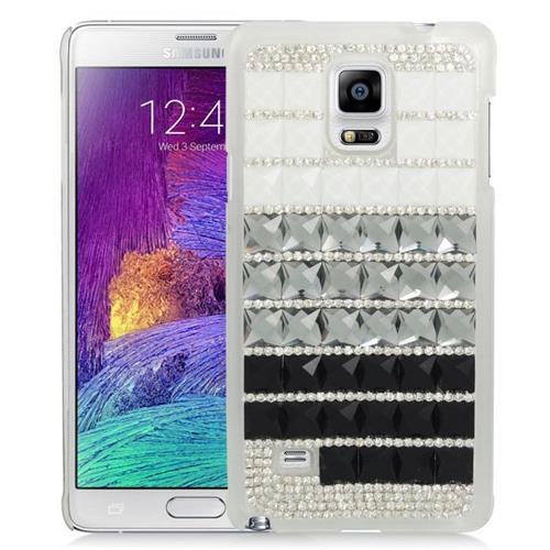 Insten Checker Rhinestone Diamond Bling Hard Snap-in Case For Samsung Galaxy Note 4, Black/Silver