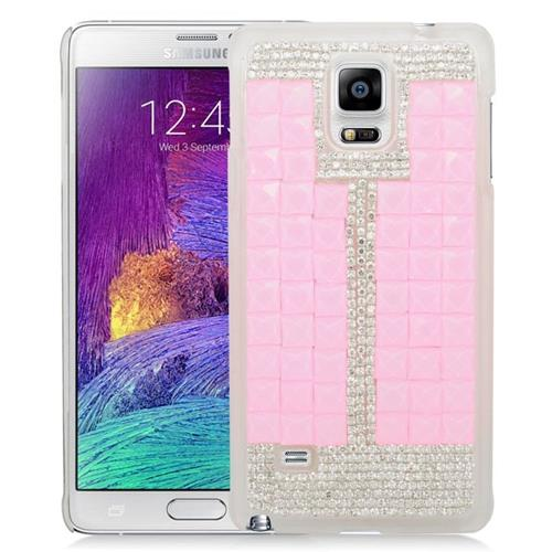 Insten Checker Rhinestone Diamond Bling Hard Snap-in Case For Samsung Galaxy Note 4, Pink/White
