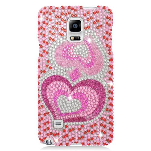 Insten Hearts Rhinestone Diamond Bling Hard Snap-in Case For Samsung Galaxy Note 4, Pink/White