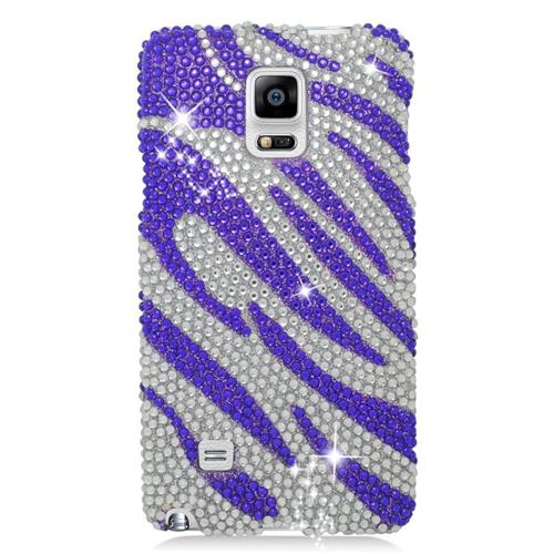 Insten Zebra Rhinestone Diamond Bling Hard Snap-in Case For Samsung Galaxy Note 4, Purple/Silver