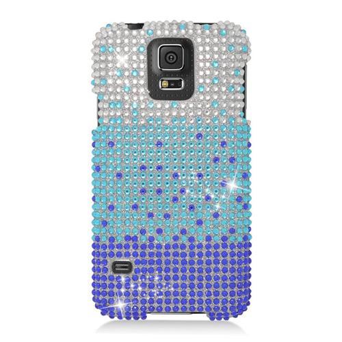 Insten Waterfall Rhinestone Diamond Hard Snap-in Case For Samsung Galaxy S5 SM-G900, Blue/Purple