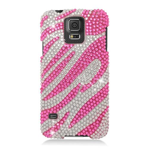 Insten Zebra Rhinestone Diamond Hard Snap-in Case For Samsung Galaxy S5 SM-G900, Silver/Hot Pink