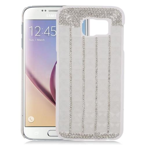 Insten Checker Rhinestone Diamond Bling Hard Snap-in Case For Samsung Galaxy S6 SM-G920, Silver