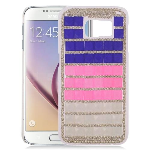 Insten Checker Rhinestone Diamond Bling Hard Snap-in Case For Samsung Galaxy S6 SM-G920, Purple/Pink