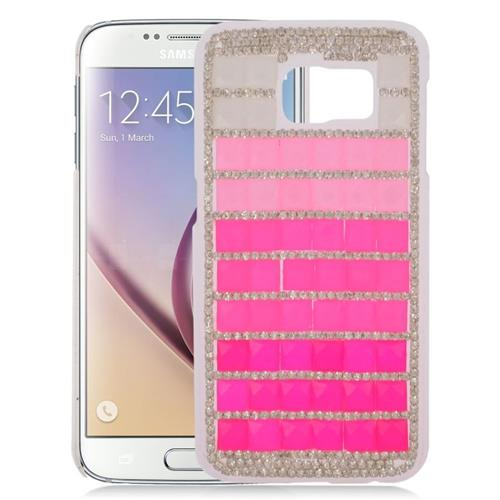 Insten Checker Rhinestone Diamond Hard Snap-in Case For Samsung Galaxy S6 SM-G920, Pink/Hot Pink
