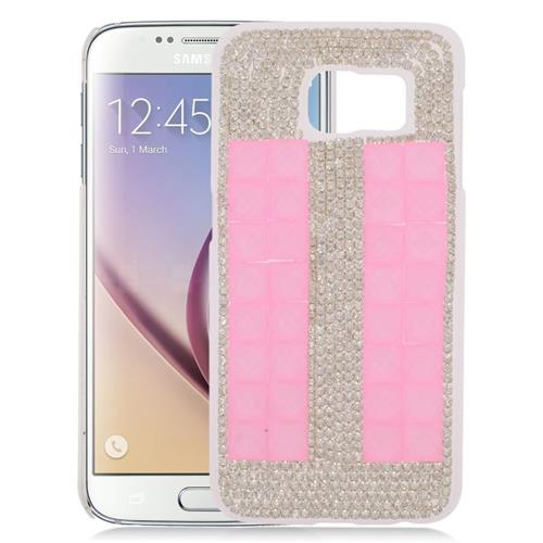 Insten Checker Rhinestone Diamond Bling Hard Snap-in Case For Samsung Galaxy S6 SM-G920, Pink/Silver