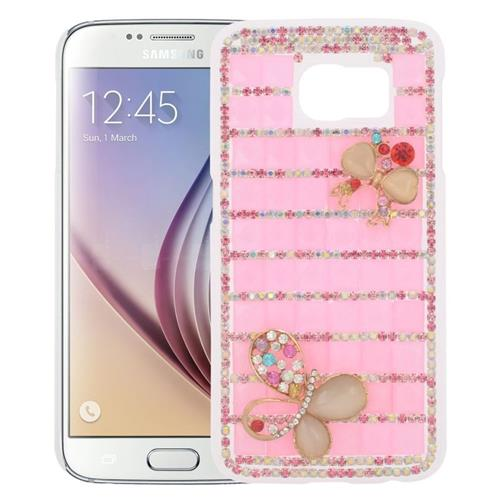 Insten Checker Rhinestone Diamond Bling Hard Snap-in Case For Samsung Galaxy S6 SM-G920, Pink/Gold