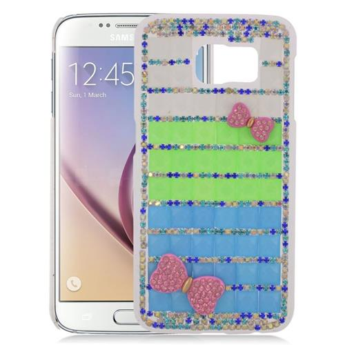Insten Checker Rhinestone Diamond Bling Hard Snap-in Case For Samsung Galaxy S6 SM-G920, Blue/Green