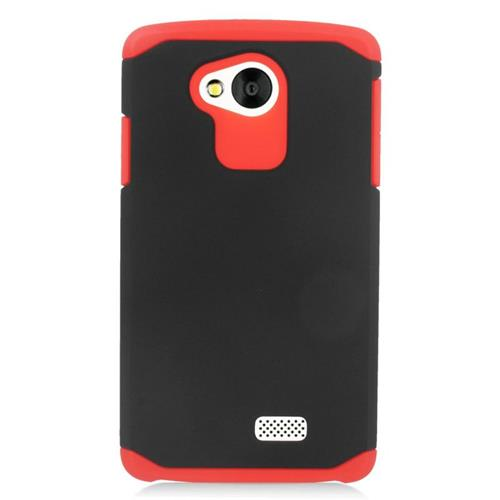 Insten Hybrid Rubberized Hard PC/Silicone Case For LG Tribute, Black/Red