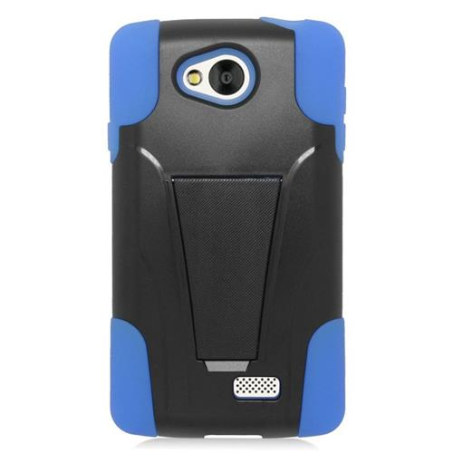 Insten Dual Layer Hybrid Stand PC/Silicone Case Cover Compatible With LG Tribute, Black/Blue