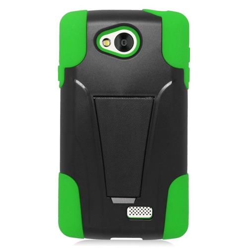 Insten Dual Layer Hybrid Stand PC/Silicone Case Cover Compatible With LG Tribute, Black/Green