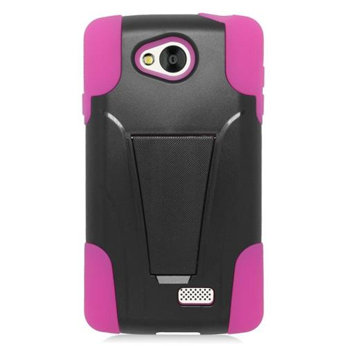 Insten Dual Layer Hybrid Stand PC/Silicone Case Cover Compatible With LG Tribute, Black/Hot Pink