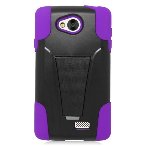Insten Dual Layer Hybrid Stand PC/Silicone Case Cover Compatible With LG Tribute, Black/Purple
