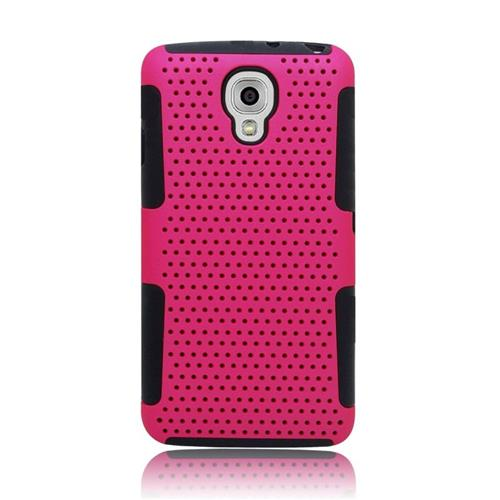 Insten Astronoot Hybrid PC/TPU Rubber Case For LG Volt LS740, Hot Pink/Black