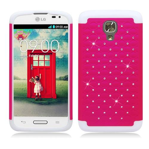 Insten Hybrid Rubberized Hard PC/Silicone Case With Diamond Compatible LG Volt LS740, Hot Pink/White