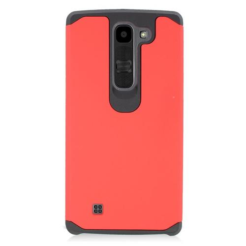 Insten Dual Layer Hybrid Rubberized Hard PC/Silicone Case Cover Compatible With LG Volt 2, Red/Black