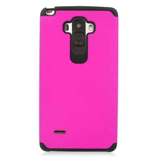 Insten Hybrid Rubberized Hard PC/Silicone Case For LG G Stylo LS770/G Vista 2, Hot Pink/Black