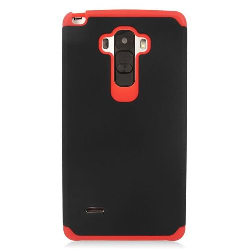 Insten Hybrid Rubberized Hard PC/Silicone Case For LG G Stylo LS770/G Vista 2, Black/Red