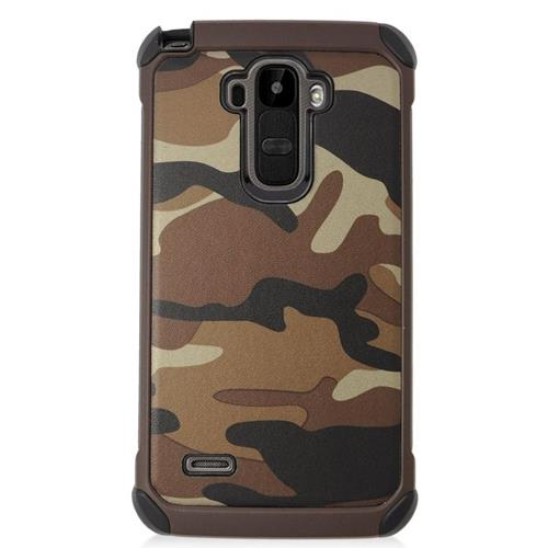 Insten Camouflage Hybrid Rubberized Hard PC/Silicone Case For LG G Stylo LS770/G Vista 2, Brown