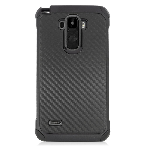 Insten Carbon Fiber Hybrid Rubberized Hard PC/Silicone Case For LG G Stylo LS770/G Vista 2, Black