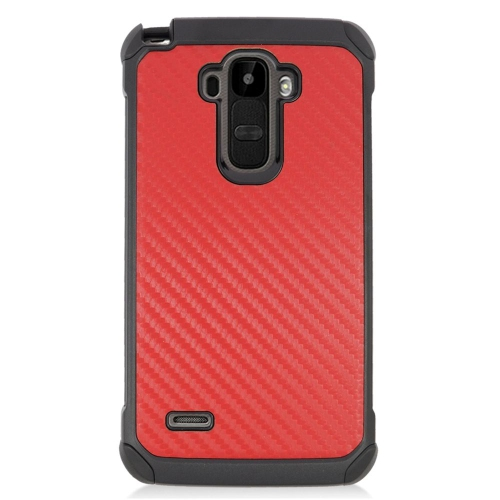 Insten Carbon Fiber Hybrid Hard PC/Silicone Case For LG G Stylo LS770/G Vista 2, Red/Black